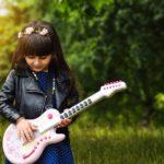happy guitar girl