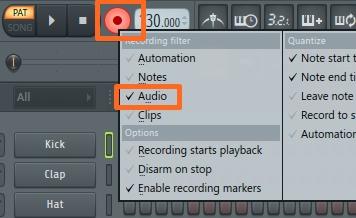 右クリックしてAudioを選択後点灯させる