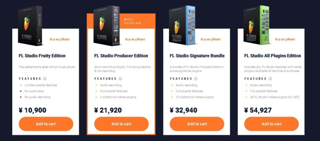 FL Studioグレード別価格表